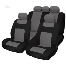 New 9PC Flat Cloth Black and Grey Front and Rear Seat Covers Set For Toyota
