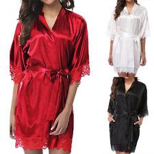 Sexy Women Lace Long Bride Kimono Robe Satin Silk Night Dressing Gown Gy