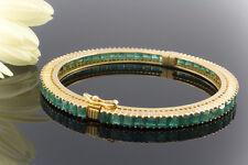 Schmuck Smaragd Armreif 5 Carat Smaragde Emerald Bracelet in 750er Gelbgold
