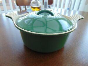 VINTAGE LE CREUSET ROUND CASSEROLE DISH COCOTTE 18cm RACING GREEN