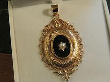 Pendentif ancien or 18 carats onyx et perle de culture