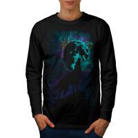 Wellcoda Howling Wolf Pack Mens Long Sleeve T-shirt, Wild Graphic Design