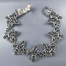 Silver Finish Black Fleur De Lis Shape Swirl Design Magnetic Bangle Bracelet