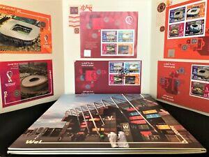 QATAR STADIUMS FIFA 2022  LTD EDITION VIP (2 FDC+ 2 MS SHEETS+ 2 POST CARDS) MNH