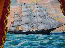 "Vintage Wesco Reltex Fabric Panel Nautical American Flag Sailing Ship 44"" x 23"