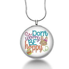 Easter necklace - Don't worry be Hoppy - funny jewelry - unique gifts for her