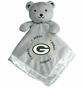 Green Bay Packers Baby Fanatic Security Gray Bear Blanket, NFL Hologram 14 X 14