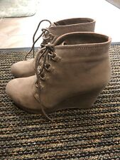 Just Fab Taupe, Suede Wedge Booties - Size 9, Never Worn!