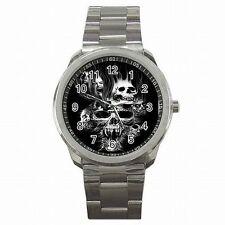 Skulls Scream Scarey Halloween Skull Accessory Stainless Steel Watch