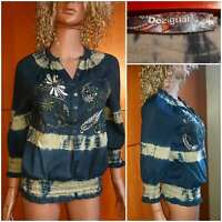 DESIGUAL Women's Blouse. 3/4 Sleeve. Embroidered Flowers,Letters.Size S