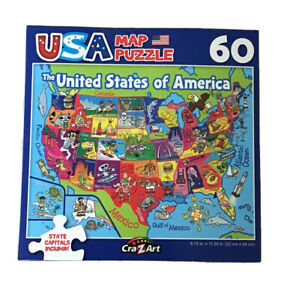 """USA Map Puzzle 60 Piece Kids New Sealed with State Capitals Age 6+ 9"""" X 11"""""""