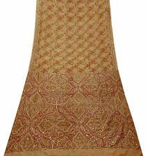 Vintage Sari Pfirsich Rein Seide Bestickt Indische Saree Stoff Dekor PSSI515