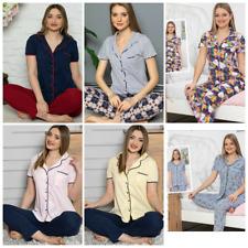 Damen Pyjama Schlafanzug  Baumwolle mit Knöpfen 2 Teiler S-94