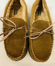 ROCKPORT Mens Moccasin Loafer Suede Leather Indoor Outdoor Slippers Brown 8.5-9