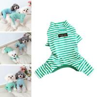 Autumn Stripe Teddy Jumpsuit Winter Dog Clothes Pajamas Puppy Pet Cat N9R8