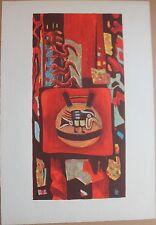 Lithographie originale de Tony AGOSTINI signée EA intérieur mexicain Mexico