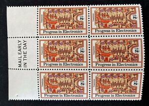 US Stamps, Scott #1501 8c 1973 Blk of 6 of Progress in Electronics XF M/NH