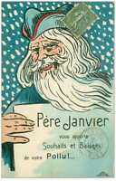 Unusual Santa Claus or Father Time Vintage French Christmas  Postcard-c843