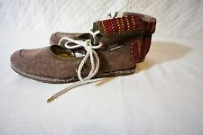 NEW MERRELL SAMPHIRE SHOES WOMENS 7  Canvas Ankle Tie Cuff Brown w/Red Yellow