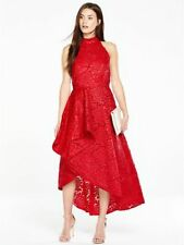 VERY.CO.UK RED LACE ORIGAMI PLEAT FRONT DRESS SIZE 14 BNWT