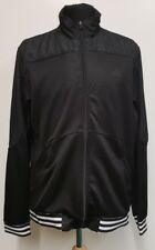 """G318 MENS ADIDAS SHINY BLACK WHITE IMPOSSIBLE IS NOTHING TRACKSUIT TOP L 42"""""""