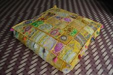 Indian Yellow Patchwork Large Floor Ottoman Pouf Cushion Pillow Cover Square Pet