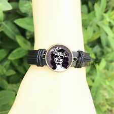 Glass Cabochon Leather Charm Bracelet Gothic woman Black Bangle 20 mm