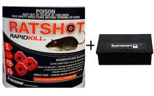 Ratshot RapidKill Mouse Rodent Poison Bait Blocks 1 Feed 250g+ Bait Station