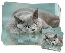 British Blue Cat 'Love You Dad' Twin 2x Placemats+2x Coasters Set in Gi, DAD-2PC