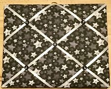 French Bulletin Board Photo Memo Black Gray White Star Print 9.4 x 11.8 inches