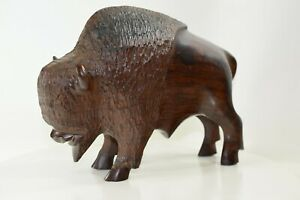 """Solid Ironwood Buffalo Bison Bull Hand Carved Solid Wood 10"""" x 3 1/2"""" x 7 1/4"""""""