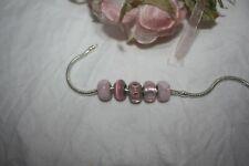 Lovely Set Of 5 Murano 925 Glass Beads For Bracelet Pink Colours