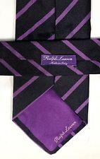 "RALPH LAUREN PURPLE LABEL black purple repp stripe silk neck tie 4.25"" wide"