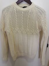 Vintage 1960s Van Cort Cable knit Sweater Size L Large Fits Like Medium Ivory