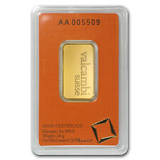 20 gram Gold Bar - Valcambi (In Assay) - SKU #77424