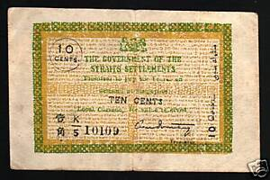 STRAITS SETTLEMENTS 10 CENTS P6 C 1920 RARE MALAYSIA SINGAPORE CURRENCY BANKNOTE