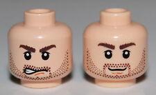 Lego Light Flesh Head Dual Sided Grin Beard Stubble  Bushy Eyebrows Dastan