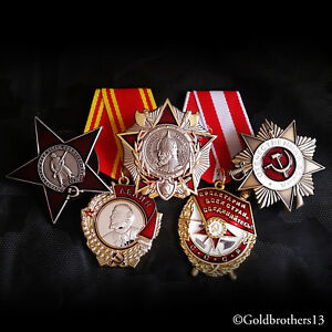 WW2 Russian Medals Order of Lenin Red Star Patriotic War Red Banner Nevsky Repro
