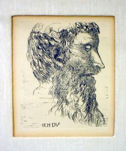 Signed LEONARD BASKIN Etching JEAN DUVET Engraving PORTRAIT Framed c.1962