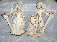 Vintage Pair Universal Statuary Chalkware Figurines French Gentry Couple Harp