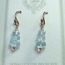 2018 Faceted Aquamarine Earrings in Sterling Silver
