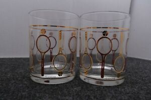 2 Culver Old Fashioned Whiskey Glasses Tennis Racquets MCM Mid Century Modern