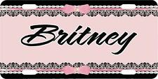 Personalized Monogrammed Car Tag License Plate - Pretty Pink Black Monogram