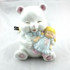 Vintage Porcelain Happy Bear w Baby Doll Nursery Night Light Lamp Table Electric