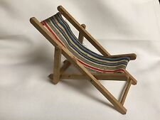 Dollhouse Miniature Folding Beach Patio Outdoor Chaise Lounge Furniture ~Germany