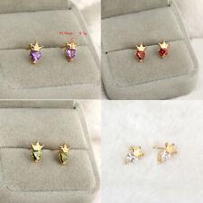 Women Yellow Gold Filled Crystal Gem Heart Crown Small Ear Stud Wedding Earrings