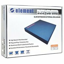 "NEW SEALED-Element EN-5210-BK 5.25"" SATA CD/DVD Slim Notebook External Enclosure"