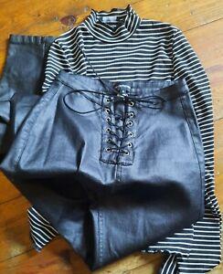 Pretty Little Thing Black PVC Trousers & Stripe Top Size S