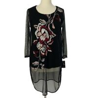 Alfani Women Floral Embroidered Mesh Overlay Tunic Top Black Burgundy Size Small
