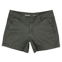 Sonoma Women's 12 Good For Life Khaki Chino Cotton Shorts Pockets Dark Green